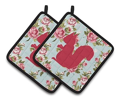 Caroline's Treasures Squirrel Potholder (Set of 2); Blue