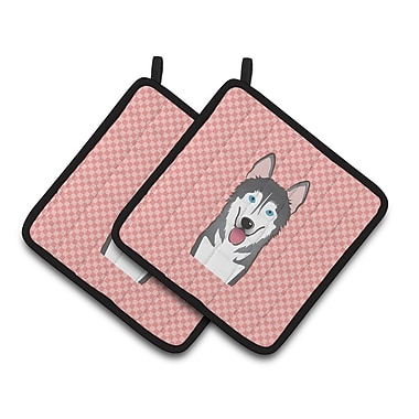Caroline's Treasures Checkerboard Alaskan Malamute Potholder (Set of 2); Pink