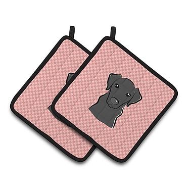 Caroline's Treasures Checkerboard Labrador Potholder (Set of 2); Pink / Black