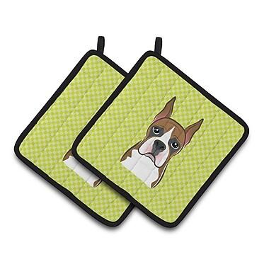 Caroline's Treasures Checkerboard Boxer Potholder (Set of 2); Lime Green