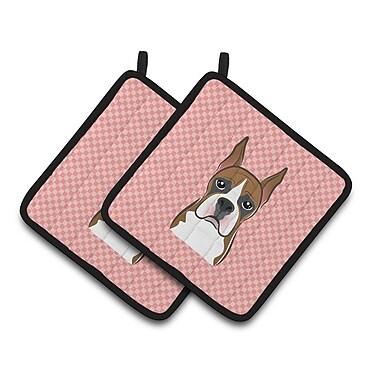 Caroline's Treasures Checkerboard Boxer Potholder (Set of 2); Pink