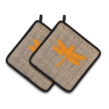 East Urban Home Dragonfly Potholder (Set of 2); Orange