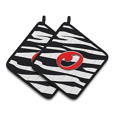 Caroline's Treasures Zebra Potholder (Set of 2); O