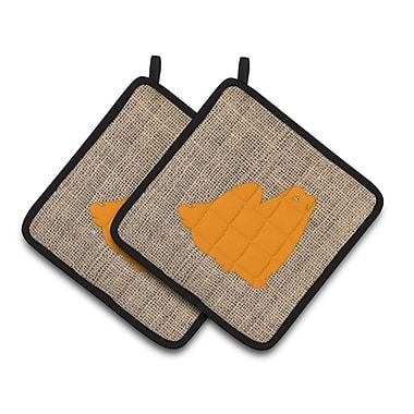 Caroline's Treasures Maltese Potholder (Set of 2); Orange