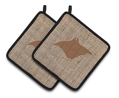 Caroline's Treasures Manta Ray Potholder (Set of 2); Brown WYF078279748201