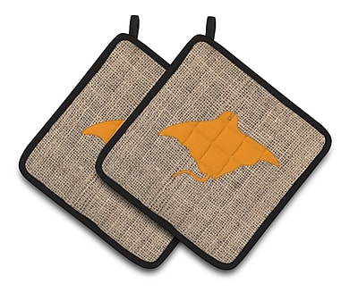 Caroline's Treasures Manta Ray Potholder (Set of 2); Orange WYF078279748202