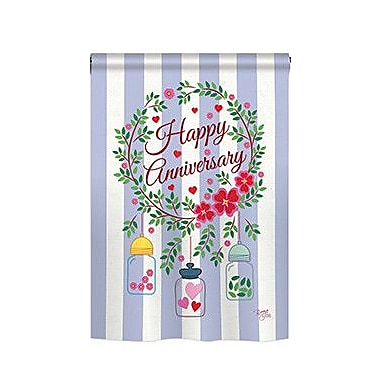 TwoGroupFlagCo Happy Anniversary 2-Sided Vertical Flag; 18.5'' H x 13'' W