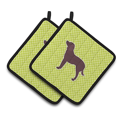 Caroline's Treasures American Water Spaniel Checkerboard Potholder (Set of 2); Green