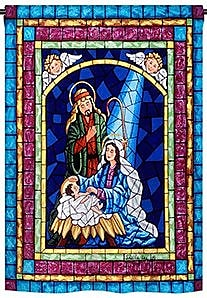 TwoGroupFlagCo Stained Glass Nativity 2-Sided Vertical Flag; 18.5'' H x 13'' W