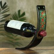 Novica Lacquered Wood 1 Bottle Tabletop Wine Bottle Rack