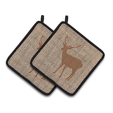 East Urban Home Deer Standing Potholder (Set of 2); Brown