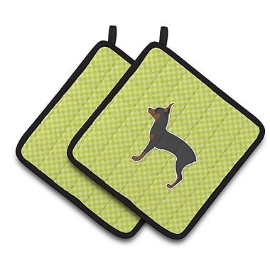Caroline's Treasures Toy Fox Terrier Checkerboard Potholder (Set of 2); Black/Green