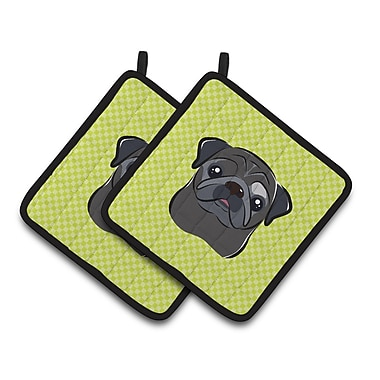 Caroline's Treasures Checkerboard Pug Potholder (Set of 2); Lime Green/Black