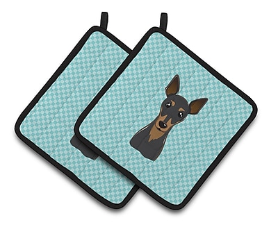 Caroline's Treasures Checkerboard Min Pin Potholder (Set of 2); Blue