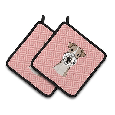 Caroline's Treasures Checkerboard Wire Haired Fox Terrier Potholder (Set of 2); Pink