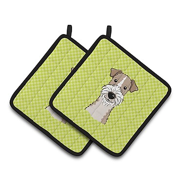 Caroline's Treasures Checkerboard Wire Haired Fox Terrier Potholder (Set of 2); Lime Green