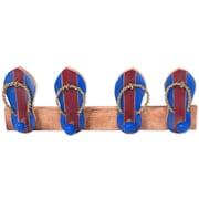 Novica Hand Carved Wood Coat Rack; Maroon/Blue