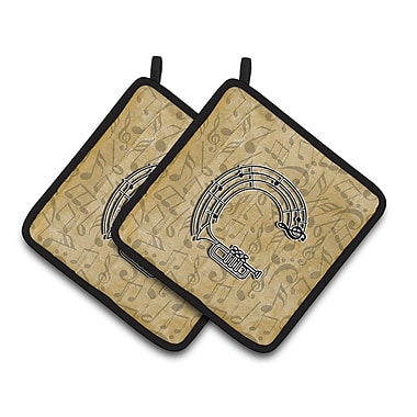 Caroline's Treasures Musical Instrument Potholder (Set of 2); C