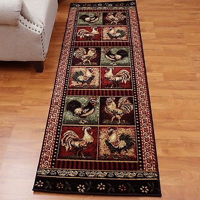 DonnieAnn Company Lodge Brown/Red Area Rug; Runner 2' x 7''