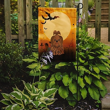 Caroline's Treasures Halloween Shih Tzu 2-Sided Garden Flag; Silver/Chocolate