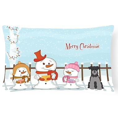 Caroline's Treasures Merry Christmas Indoor/Outdoor Lumbar Pillow; Black/Silver