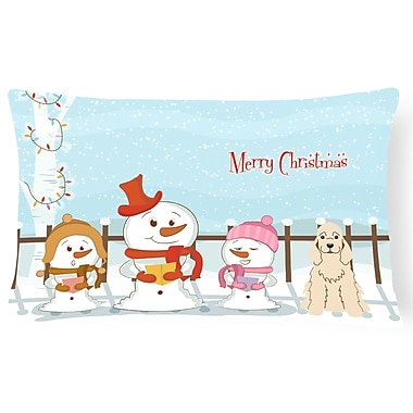 Caroline's Treasures Merry Christmas Indoor/Outdoor Lumbar Pillow; Buff