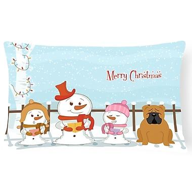 Caroline's Treasures Merry Christmas Indoor/Outdoor Lumbar Pillow; Red