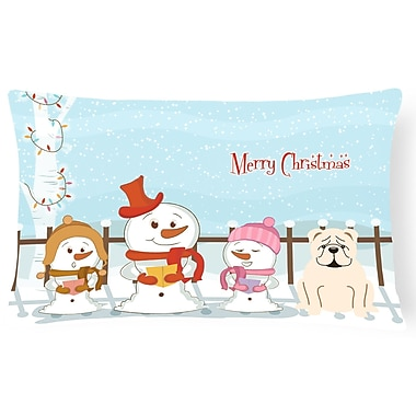 Caroline's Treasures Merry Christmas Indoor/Outdoor Lumbar Pillow; White