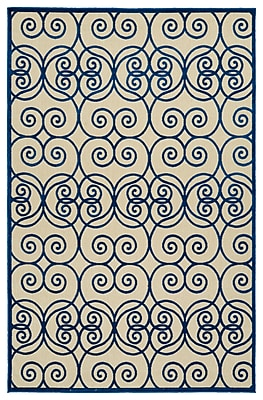 Charlton Home Covedale Hand-Woven Navy Indoor/Outdoor Area Rug; 7'10'' x 10'8''