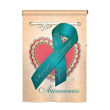 TwoGroupFlagCo Ovarian Awaress 2-Sided Vertical Flag; 40'' H x 28'' W