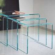 Fab Glass and Mirror 3 Piece Clear Bent Glass Nesting Tables