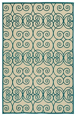 Charlton Home Covedale Machine Woven Blue/Cream Indoor/Outdoor Area Rug; 3'10'' x 5'8''