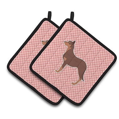 East Urban Home Australian Kelpie Dog Checkerboard Potholder (Set of 2); Pink