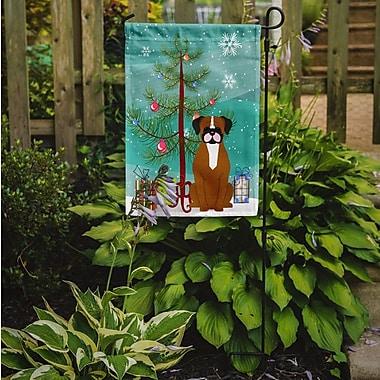 Caroline's Treasures Merry Christmas Tree Boxer 2-Sided Garden Flag; Flashy/Fawn