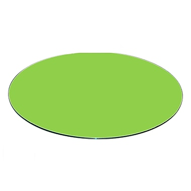 Fab Glass and Mirror Round Flat Tempered Back Painted Glass Table Top; Green
