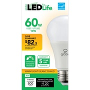 Globe A19 LED Light Bulb, 60W, Soft White