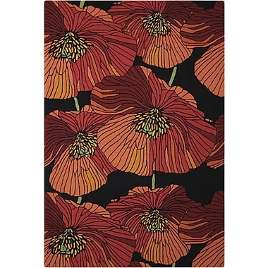 Ebern Designs Atalanta Hand-Hooked Black/Red Area Rug; 5' x 7'6''