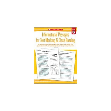 Scholastic Informational Passages for Text Marking & Close Reading: Grade 6 Reading & Writing Workbook, Grade 6 [eBook]