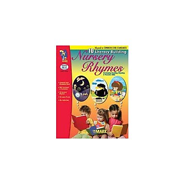 On The Mark Press 10 Literacy Building Nursery Rhymes Aligned to Common Core Workbook, Preschool - Kindergarten [eBook]