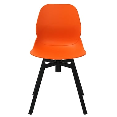 eModern Decor Joy Dining Shell Side Chair (Set of 2); Orange