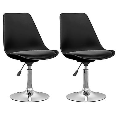 CorLiving – Chaises de salle à manger en cuir reconstitué ajustable DAB-300-C, noir, 2 pièces