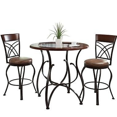 CorLiving – Tabouret de bar et table de bistro Jericho DJ-923-Z3, brun chaleureux et brun rustique, 3 pièces