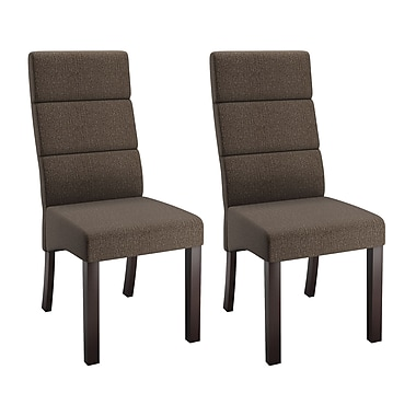 CorLiving DPP-390-C Antonio Tall Back Upholstered Dining Chairs, Brown, 2-Piece