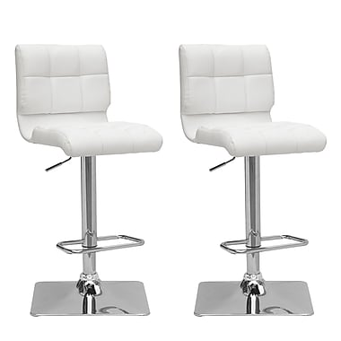 CorLiving DPU-913-B Adjustable Bonded Leather Barstool, White and Chrome, 2-Piece