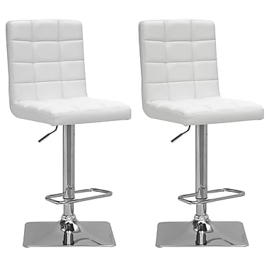 CorLiving DPU-914-B Adjustable Bonded Leather Barstool, White and Chrome, 2-Piece