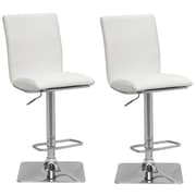 CorLiving – Tabouret de bar ajustable en similicuir DPU-915-B, blanc et chrome, 2 pièces