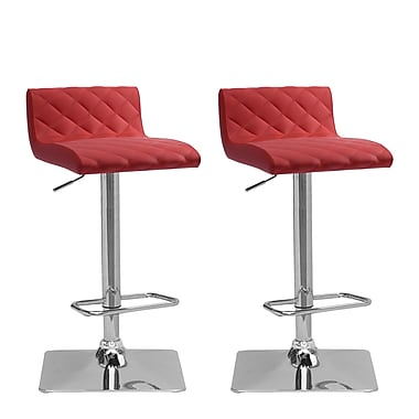 CorLiving DPU-951-B Adjustable Bonded Leather Barstool, Red and Chrome, 2-Piece