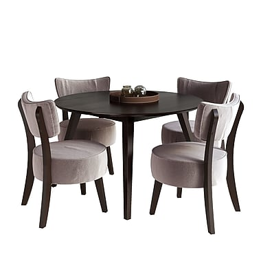 CorLiving DRG-897-Z1 Atwood Dining Set with Velvet Chairs, Cappuccino and Soft Grey, 5-Piece