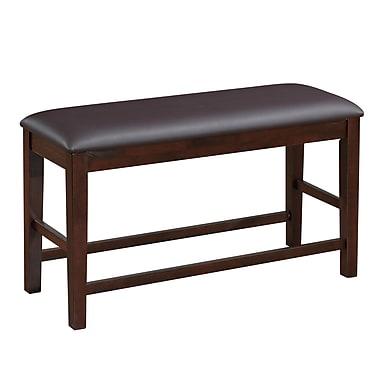 CorLiving – Banc de salle à manger en cuir reconstitué à hauteur de comptoir DWG-280-S, brun