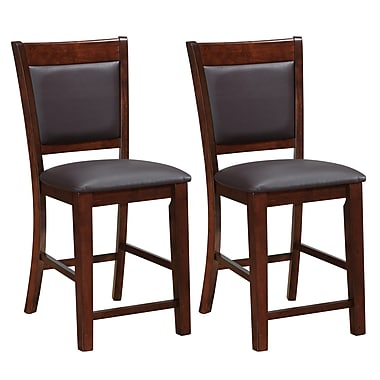 CorLiving DWG-384-B Bonded Leather Counter Height Dining Chairs, Brown, 2-Piece